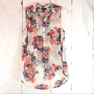 TOPSHOP | Sheer Floral Hi-Lo Button Front Blouse 4